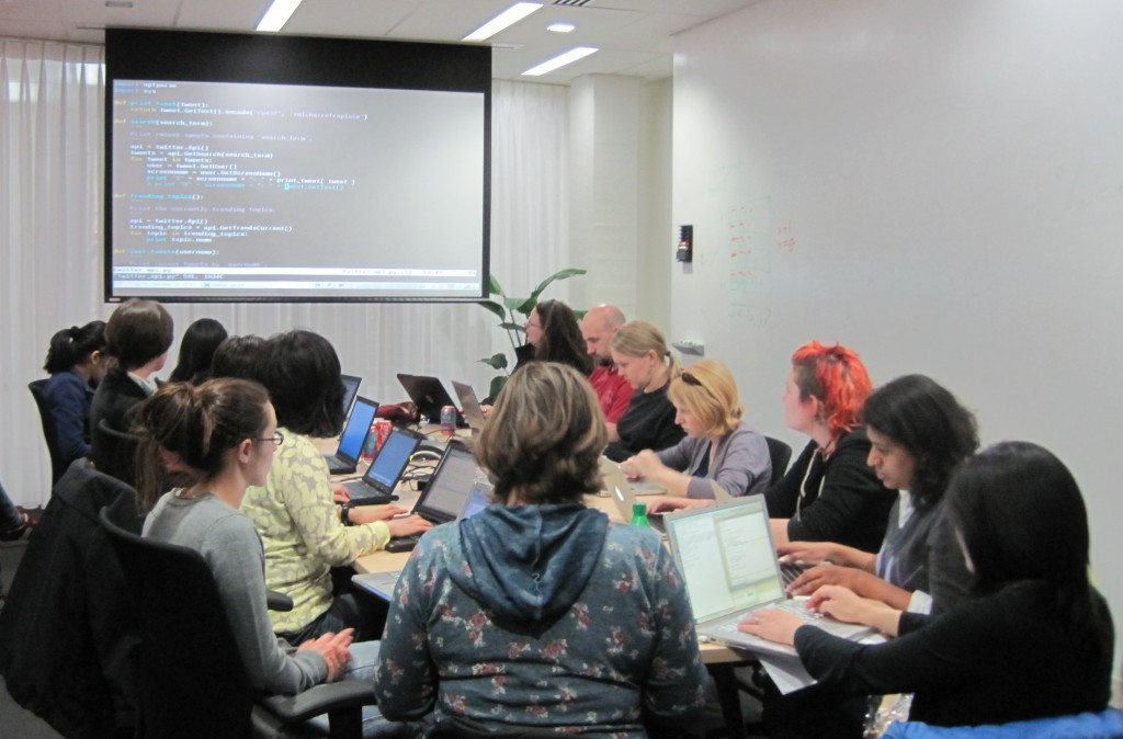 Photo from the Boston Python Workshop - a similar workshop run in Boston that has inspired and provided a template for the CDW.