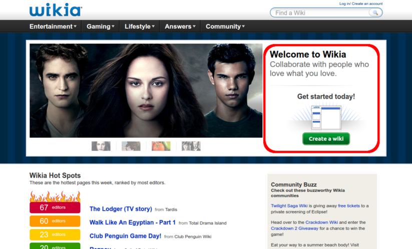 Wikia homepage