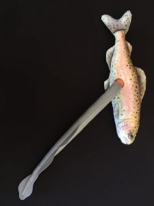 Plush salmon with lamprey parasite.